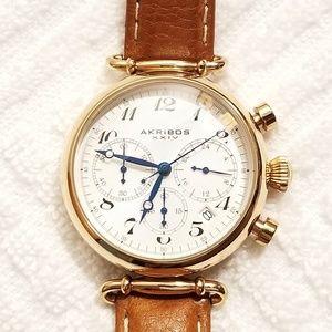 Akribos Rose Gold Tone Chronograph Watch